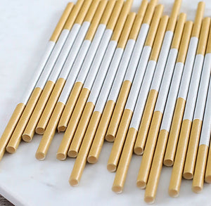 Silver & Gold Paper Straws | www.bakerspartyshop.com