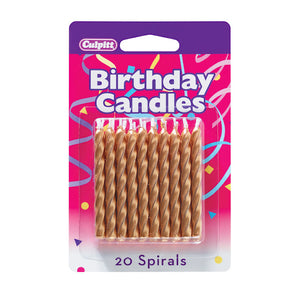 Spiral Gold Birthday Candles | www.bakerspartyshop.com