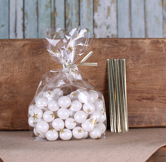 Gold Cellophane Bags & Twist Ties: Star | www.bakerspartyshop.com