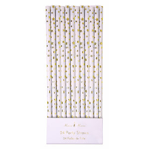 Foil Gold Paper Straws: Star | www.bakerspartyshop.com