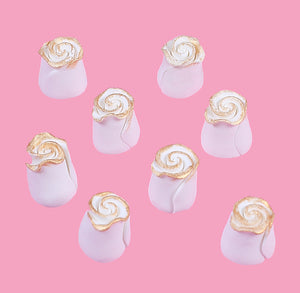 Edible White with Gold Fondant Roses: .5"