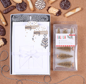Christmas Cookie Box Kit: Gold Trees | www.bakerspartyshop.com