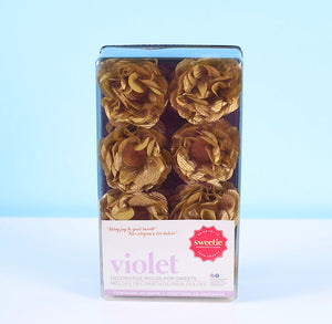 Violet Flower Candy Cups: Gold | www.bakerspartyshop.com