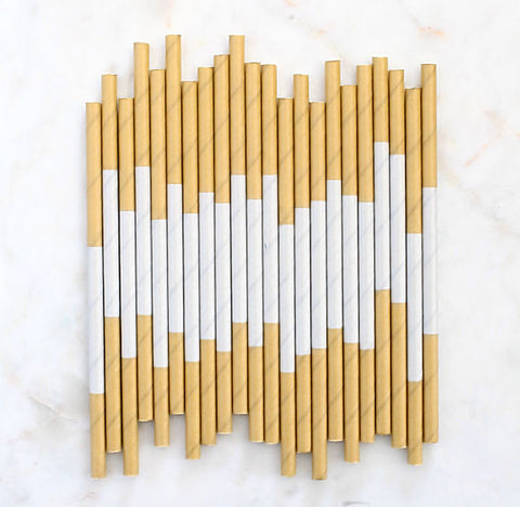 Silver & Gold Paper Cocktail Straws | www.bakerspartyshop.com