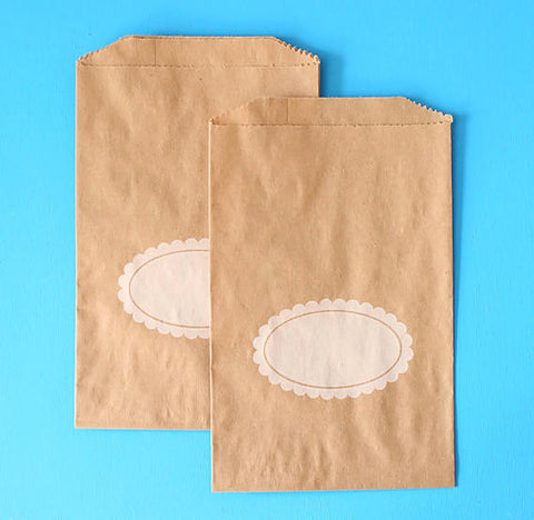 Brown Goodie Bags: Oval Plaque | www.bakerspartyshop.com