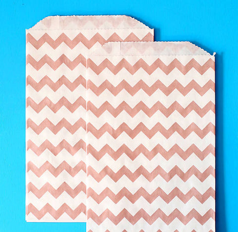Rose Gold Goodie Bags: Chevron | www.bakerspartyshop.com