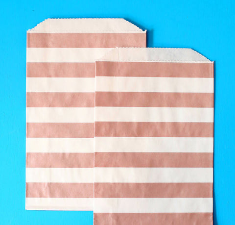 Rose Gold Goodie Bags: Stripe | www.bakerspartyshop.com