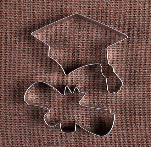 Graduation Cookie Cutters Set: Cap & Diploma | www.bakerspartyshop.com