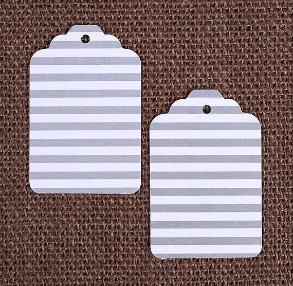 Gray Gift Tags: Stripe | www.bakerspartyshop.com