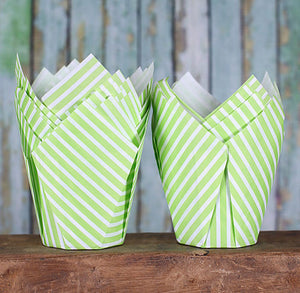 Green Tulip Cupcake Wrappers: Stripe | www.bakerspartyshop.com