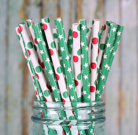 Christmas Paper Straws: Green Star | www.bakerspartyshop.com