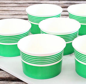 Striped Green Ice Cream Cups | www.bakerspartyshop.com