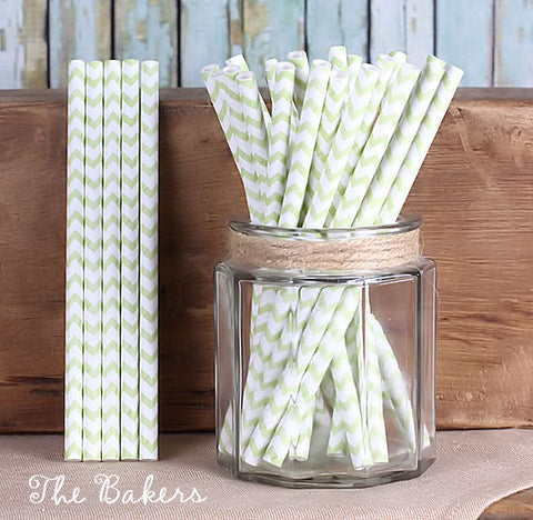 "Light Lime Green Cake Pop Sticks: Chevron (6"") 