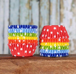 Mini Happy Rainbow Cupcake Liners: Polka Dot | www.bakerspartyshop.com