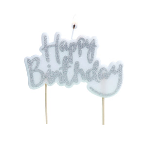 Silver Happy Birthday Candle | www.bakerspartyshop.com