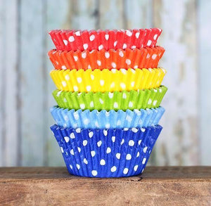 Polka Dot Cupcake Liners: Happy Rainbow | www.bakerspartyshop.com