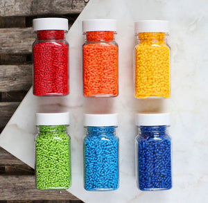 Happy Rainbow Jimmies Sprinkles Set | www.bakerspartyshop.com