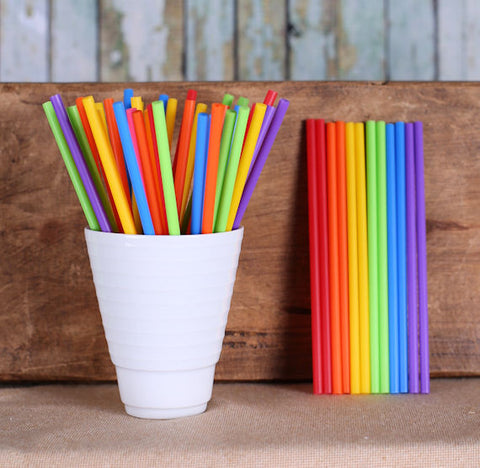 "Happy Rainbow Lollipop Sticks (4 1/2"") 
