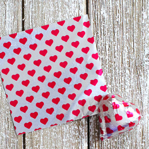 Valentine's Foil Candy Wrapper: Hearts | www.bakerspartyshop.com