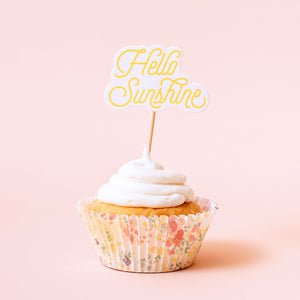 Hello Sunshine Cupcake Toppers | www.bakerspartyshop.com