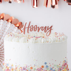 Hooray Rose Gold Candle | www.bakerspartyshop.com