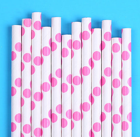 Bright Pink Paper Straws: Polka Dot | www.bakerspartyshop.com