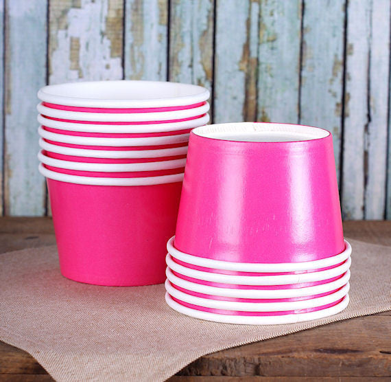 Large Hot Pink Ice Cream Cups | www.bakerspartyshop.com