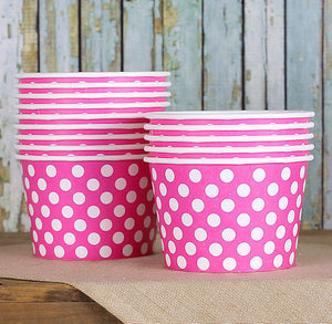 Large Pink Ice Cream Cups: Polka Dot | www.bakerspartyshop.com