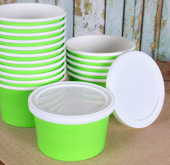 Small White Ice Cream Cups Disposable Ice Cream Bowls