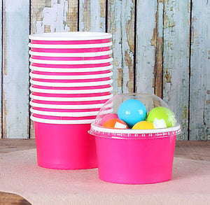 Small Hot Pink Ice Cream Cups | www.bakerspartyshop.com