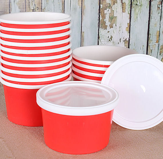Small Red Ice Cream Cups | www.bakerspartyshop.com