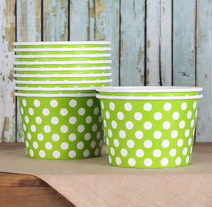 Large Lime Green Ice Cream Cups: Polka Dot | www.bakerspartyshop.com