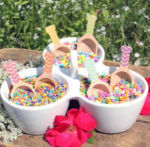 MINI Chevron Toppings Scoops - Girls Rainbow set of 6 | www.bakerspartyshop.com