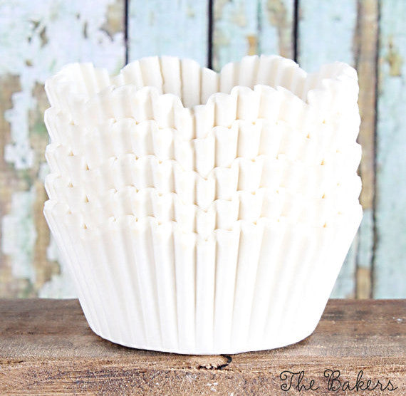 White Petal Cupcake Liners | www.bakerspartyshop.com