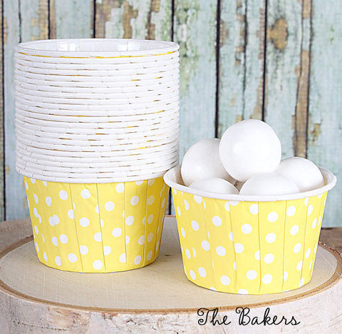 Polka Dot Baking Cups: Yellow | www.bakerspartyshop.com