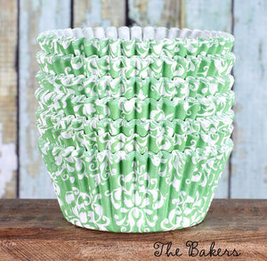 Lime Green Cupcake Liners: Damask | www.bakerspartyshop.com