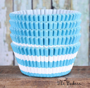 Sky Blue Cupcake Liners: Stripe | www.bakerspartyshop.com