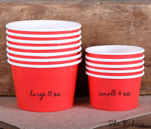 Large Red Ice Cream Cups: 8oz | www.bakerspartyshop.com
