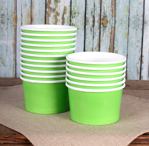 Small Lime Green Ice Cream Cups: 4oz | www.bakerspartyshop.com