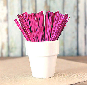 "Metallic Pink Twist Ties (4"") 