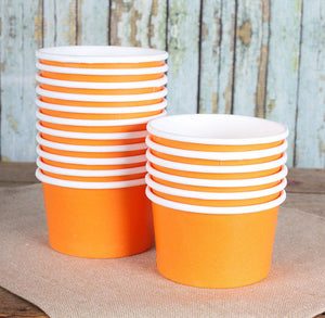 Small Orange Ice Cream Cups: 4oz | www.bakerspartyshop.com