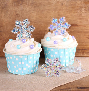 Glitter Snowflake Cupcake Topper Rings | www.bakerspartyshop.com