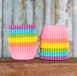Mini Pastel Rainbow Cupcake Liners | www.bakerspartyshop.com