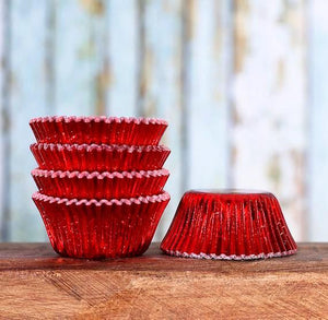 Mini Foil Red Cupcake Liners | www.bakerspartyshop.com