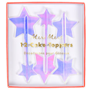 Iridescent Star Cake Toppers | www.bakerspartyshop.com