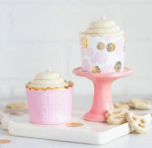 Pink + Gold Baking Cups: It's A Girl | www.bakerspartyshop.com