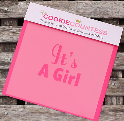 It's a Girl Cookie Stencil | www.bakerspartyshop.com