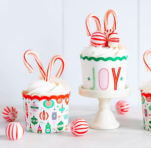 Christmas Baking Cups: Ornaments + Joy | www.bakerspartyshop.com