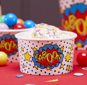 Superhero Ice Cream Cups: Kaboom | www.bakerspartyshop.com