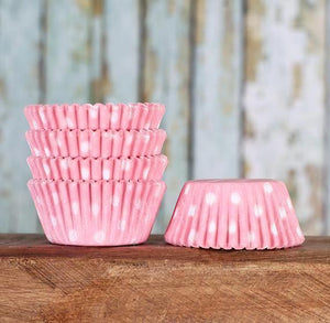 Mini Light Pink Cupcake Liners: Polka Dot | www.bakerspartyshop.com